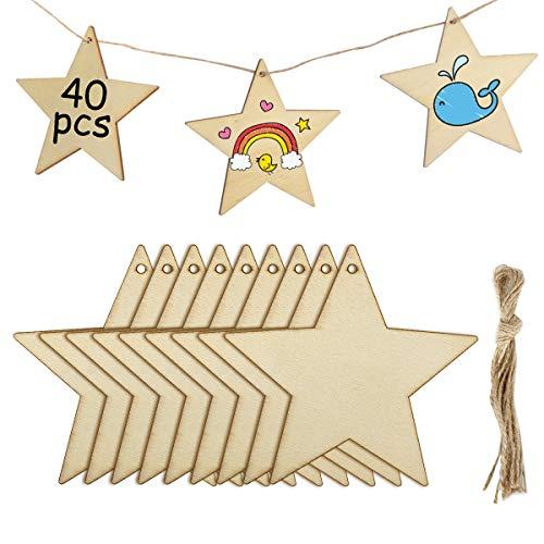 MELLIEX 40 Stück Holz Deko Hängesterne, DIY Basteln Holzanhänger Dekohänger zum Bemalen mit 40 Stück Fäden für Weihnachtsschmuck Weihnachtsanhänger Baum Geschenkanhänger