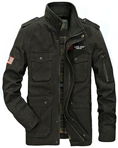 YYZYY Homme Cotton Militaire Air force Veste Manteaux Blousons Mode décontractée Men's Military Air Force Jackets ArmyGreen