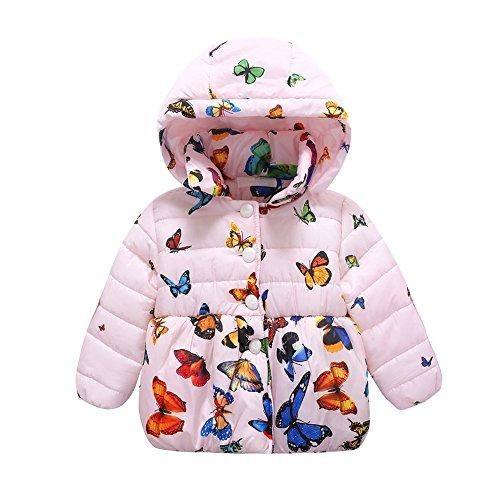 ESHOO Baby Mädchen Baumwollmantel Mäntel Winter Kinder Jacken Schmetterling Bedruckt Kapuzenjacke 0-24 M