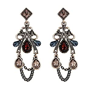 Clearine Women's Gothic Ethnic Crystal Cluster Leaf Vine Dangle Earrings DcaYUmG
