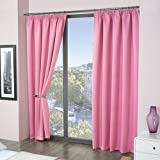 """Luxury Thermal Supersoft Blackout Curtains Pink 45"""" x 54"""" (114cm x 137cm)"""