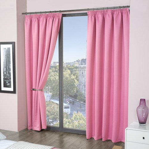 Luxury Thermal Supersoft Blackout Curtains Pink 45 x 54 (114cm x ...