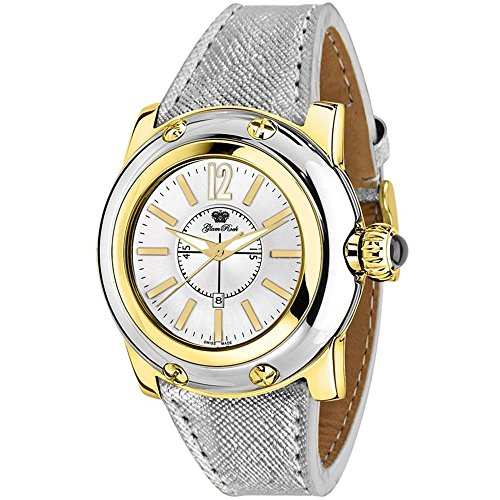 Glam Rock Women's Summer Time 40mm Silver-Tone Leather Band Gold Plated Case Swiss Quartz Watch GR40058