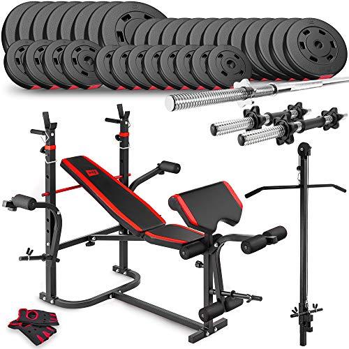 ScSPORTS/® 27 kg Hantelset Curl-Stange ger/ändelt und verchromt mit Schraubverschl/üssen und 4 Hantelscheiben 4X 5,0 kg