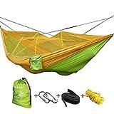 VOBAGA Hamac ultra-léger de voyage Camping avec Moustiquaire Charge | 200 kg Capacité de charge,(260 x 140 cm) respirante, nylon à parachute à séchage rapide | 2 x Mousquetons de qualités, 1 x sangles de nylon Inclus | Pour jardin d'interieur/extérieur | Jaune/vert