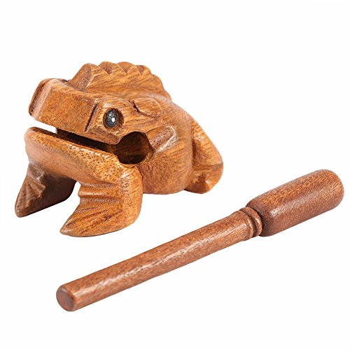 Wood Frog Guiro Rasp Thailand Hand Carved Wooden Frog Guiro Rasp Croaking Sound Toy Musical Instrument Tone Block Natural Finish Five sizes(#3)