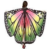WOZOW Damen Schmetterling Flügel Kostüm Faschingkostüme Umhang Schals Nymphe Pixie Poncho Kostümzubehör Zubehör (Pink & Grün)