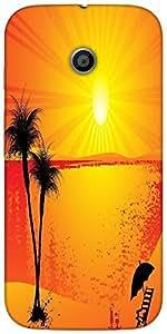 Snoogg Summer Background Designer Protective Back Case Cover For Motorola E 2...