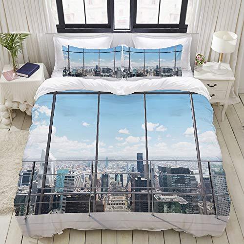 ALLMILL Bettwäsche-Set, Mikrofaser,Moderne Manhattan-Bürostadt-Ansicht New York City,1 Bettbezug 160 x 200cm+ 2 Kopfkissenbezug 80x80cm (Bettbezug New York City)