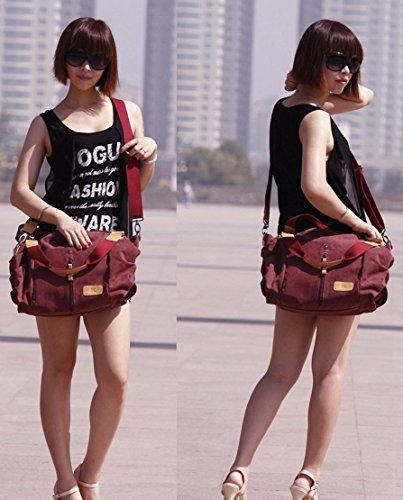 Panegy Damen Frauen Casual Tasche Mode Canvas Schultertasche Fashion Landstreicher Stil Handtasche Für Büro Freizeit Outdoor und Reisen - Weinrot Weinrot