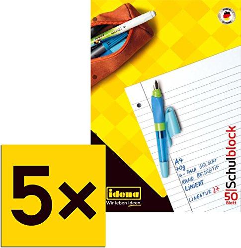 5 Schulblöcke /Schreibblöcke liniert DIN A4 / 50 Blatt je Block (5er Pack)