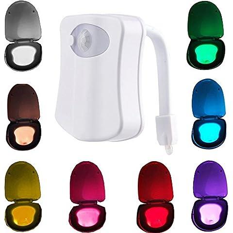 MAIKEHIGH Detección de movimiento del sensor automático WC luz nocturna LED, tapa de inodoro baño colgantes del asiento Battery- Operado lámpara del Nightlight de 8 colores que cambian. (Sólo activa en la