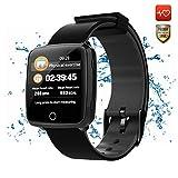 CatShin Fitness Tracker Smartwatch Android/IOS-CS07 Fitnessuhr Fitness socken IP67 Wasserdicht Activity Tracker Schrittzähler Blutdruck Pulsmesser Kalorienzähler für Damen Herren (Schwarz)