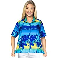 Pulsante beachwear gi� camicetta superiore collare coprire camicia hawaiana brevi maniche donne