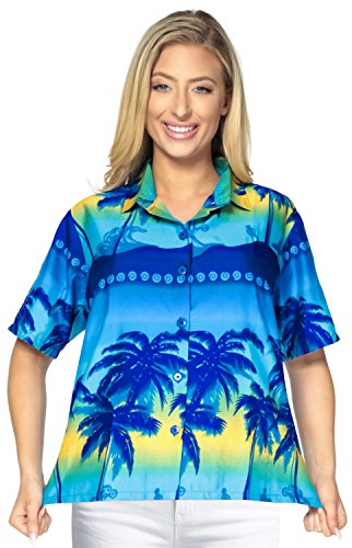 Bademode Knopf unten oben Kragen Bluse Hawaii-Hemd mit kurzen �rmeln Damen verschleiern Blau