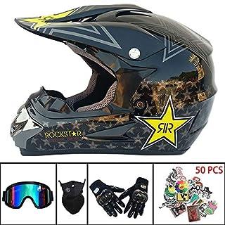 AMZ BCS Sturzhelm für Motocross Brille,50 Aufkleber,Handschuhe,Maske kostenlos Kinder Mountainbike Off Road Motorradhelm D.O.T Zertifiziert für ATV/MX/BMX/Enduro/MTB,M
