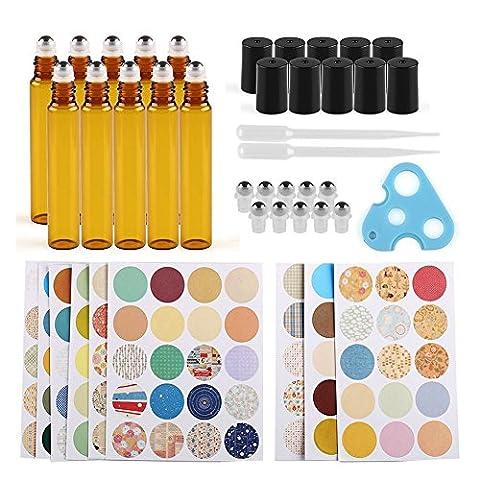Anbbas 10 x 10ml Verre Brun Roller aux Huiles Essentielles bouteilles avec compte-gouttes, Opener, 160pcs Marquage étiquettes Parfum