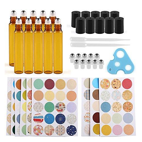 Anbbas 10 x 10 braun Glas ätherischen Ölen Flaschen mit Dropper, Öffner, 160pcs Markieren Etiketten Duft Kit (ätherische Für Flaschen Amber öle)