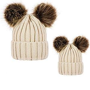 Pack de 2 Sombreros de Punto para Padres e Hijos,STRIR Gorro Beanie Suave Piel sintética Doble Pom Hairball de Invierno… 9