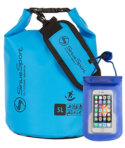 Sirius Sport Waterproof Dry Bags, Dry Sacks With Waterproof Mobile Case. Light & Durable, Waterproof Bags with LIFETIME WARRANTY. For Water-Sports, Camping, Hiking, Kayaking or Canoeing