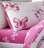 Catherine Lansfield Butterfly Easy Care Single Fitted Sheet Pink