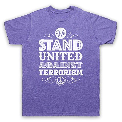 We Stand United Against Terror We Will Never Be Broken Herren T-Shirt Jahrgang Violett