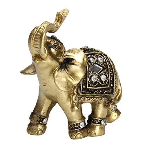 AGLKH Hauptdekorationen Hot Exquisite Feng Shui Elegante Elefanten Statue Glück Reichtum Figur Ornamente Geschenk für Home Office Desktop Dekoration Handwerk, Gold