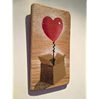 Heart Balloon in a Box Art Picture (Micro Stencil) Gift for her/Birthday Gift/For your Wife/For Grandma/For new mums - Spraypainted painting on Oak - 8 x 14cm