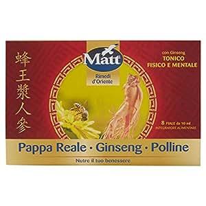 Matt - Pappa Reale Polline Ginseng - Integratore contro la Stanchezza con Pappa Reale, Polline e Benefici del Ginseng - 8 Fiale - 80 ml