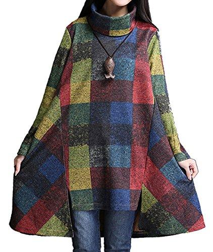 ammy-fashion-womens-turtle-neck-checkerd-irregular-jersey-jumper-dress-blue-size-uk-16