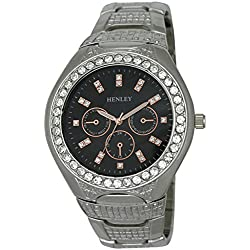 Henley Mens Diamante Encrusted Fashion Quartz Watch with Silver Dial Analogue Display and Silver Stainless Steel Plated Bracelet HB004.14