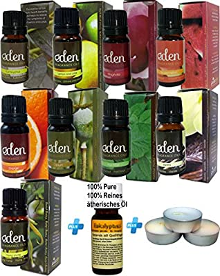 Set of 13 pieces for Aromatherapy. Fragance Oil for Aromatherapy (9 bottles) + Pure Natural Essential Oil (1 Bottle) + Candles for Aromatherapy (3 units) -REF66- by patagonian