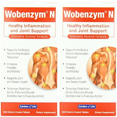 Wobenzym N Healthy Inflammation and Joint Support - 800 Enteric-Coated Tablets (Formerly distributed by Mucos) from Garden of Life