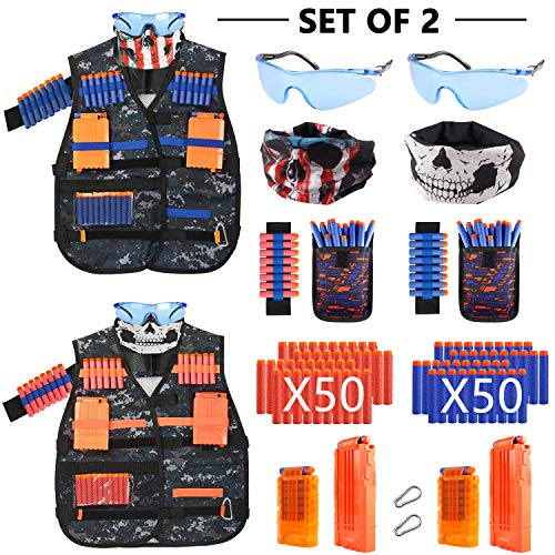 AILUKI 2 Sätze Kinder Taktische Weste Jacke Kit Set für Nerf Gun N-Streik Elite-Serie mit 100 Darts Nachfüllpack,2 Maske,2 Brille,2 Handgelenk Bandolier,4 Schnellwechselclips,2 Armbände.  (Nerf Im Streik)