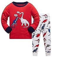 Qtake Fashion 1-12 Years Boys Pajamas Children Clothes Dinosaur Set 100% Cotton Little Kids Pjs Sleepwear