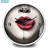 BYLE Uhr Wanduhren Dekoration Stumm nicht tickende Mode sexy Retro Frau E-Bar Cafe Home Decor Wanduhr, 14 Zoll, CG035 schwarze Stift Platinum Box Kiss Kiss,