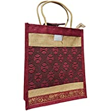 Eco Friendly Jute Lunch Bag & shopping Bag - Rich Attractive Red Colour
