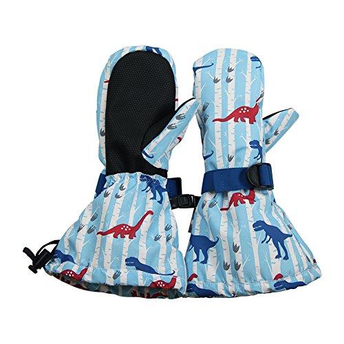 JAN & JUL Wasserdichte bleib dran Fäustlinge für Babys Kleinkinder und Kinder(M:4-6Y, Mit Daumen: Dinosaurier)