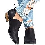 Pxmoda Damen Madeline Western Mandel Runde Zehe Zehe Slip auf Bootie - Low Stack Ferse Casual Ankle Boot von (35, Schwarz)