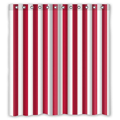 DOUBEE Badezimmer Weiß und Rot Gestreifte Regenbogen Wasserdichtes Duschvorhang Shower Curtain 66