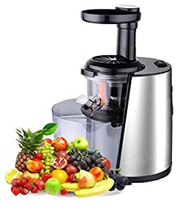 ViVo Urom Professional Slow Fruit Vegetable Juicer Extractor Black with Stainless Steel / Aluminium Finish with Jug and Scrubbing Brush