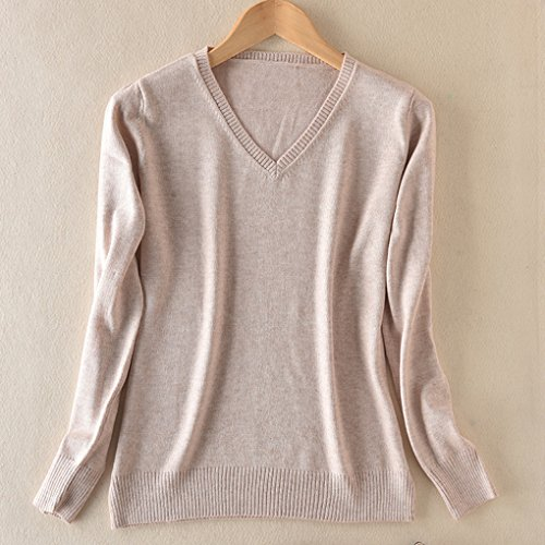 Masterein Sweat ¨¤ capuche femme ¨¤ encolure en tricot en laine ¨¤ manches longues ¨¤ manches longues chameau beige(V neck)