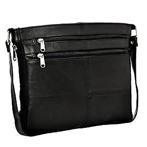 Real Leather Women Ladies Handbag Shoulder Bag Zip Compartment Soft Black Nappa Cross Body Everyday