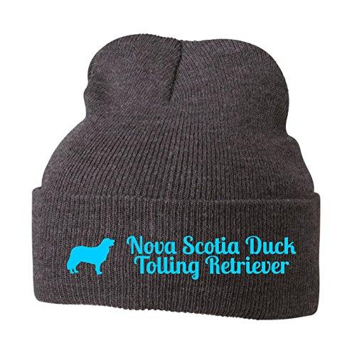 Strickmütze - NOVA SCOTIA DUCK TOLLING RETRIEVER Toller Hund Hunde Motiv - Stickerei Hund Winter Mütze Wintermütze Beanie Mütze Siviwonder grey melange-türkis (Duck Tolling Nova Scotia Retriever)