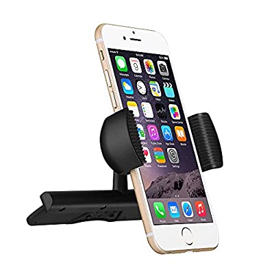 CD Slot Mount,Mpow Universal CD Slot Car Mount Phone Holder Car Cradle With Spring Holder, 360 Degree Rotation for iPhone 7/7 Plus/6/6S/6S Plus/5/5S, iPod Touch, Samsung S6/S5 Note 5/4/3, LG, Nexus4/5, HTC, Motorola, Sony & GPS Devices