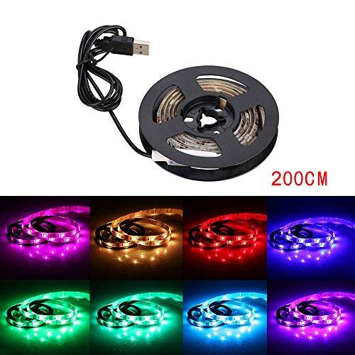 niceEshop(TM) Vorbeleuchtungspegel für HDTV Multicolor RGB 2m/6.5ft USB LED Streifen Beleuchtung Kit Cuttable mit 60 LEDs für Flachbildfernseher LCD, PC Monitore (Weiß)