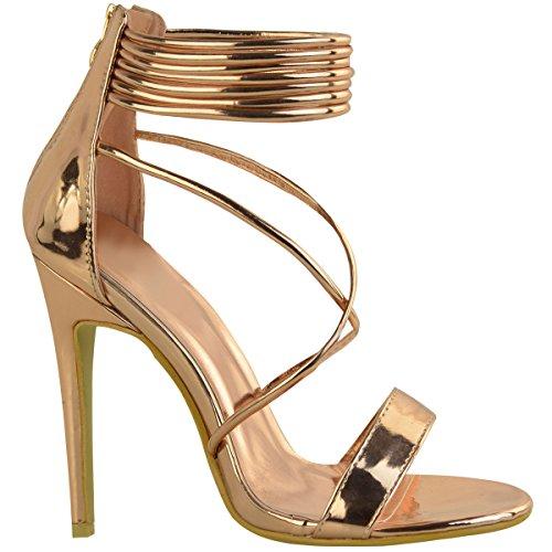 Sandales à talons hauts - à brides - soirée/fête - femme Rose doré métallisé/bride cheville
