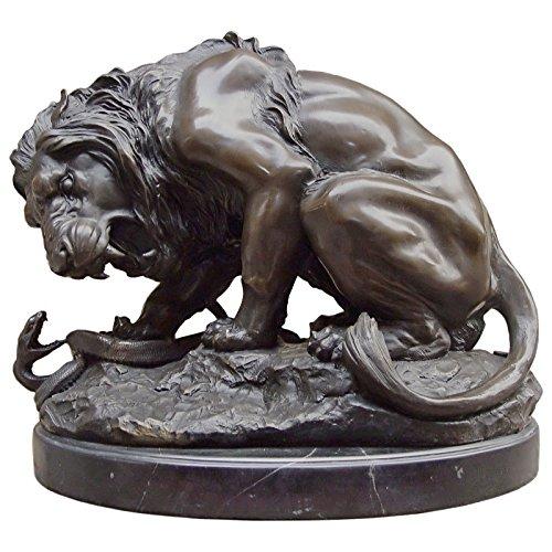 Ellas-Wohnwelt Löwen Bronze Figur 35x41cm groß Kampf Löwe Schlange Bronzeskulptur Haus Garten - Ella Schlange