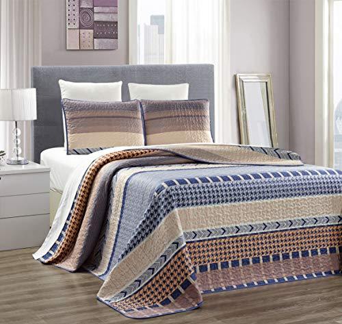 s Bettwäsche-Set, fein, Bedruckt, wendbar, Tagesdecke, Tagesdecke, Tagesdecke für King-Size-Betten und King-Size-Betten Oversize King Blue/Beige/Taupe Abstract ()