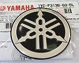 100% GENUINE 55mm Durchmesser YAMAHA STIMMGABEL Aufkleber Sticker Emblem Logo SCHWARZ / SILBER Erhöht Gewölbt Metalllegierung Bau Selbstklebend Motorrad / Jet Ski / ATV / Schneemobil